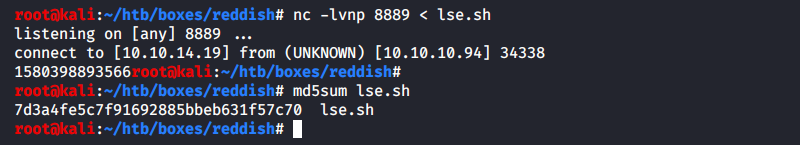 Sending the lse.sh script to the Node-RED server