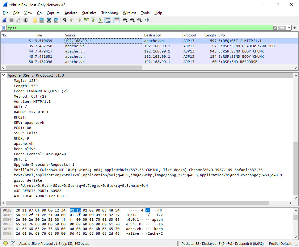 Wireshark sniffs AJP13 traffic from Apache to Tomcat