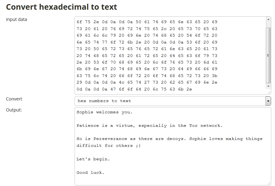 Decrypt hex to text