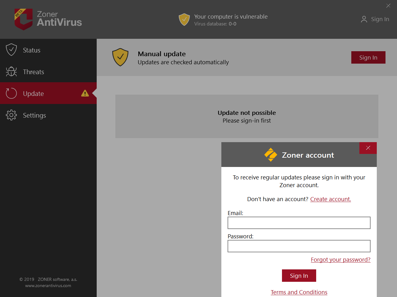 Zoner AntiVirus requires you to register an account
