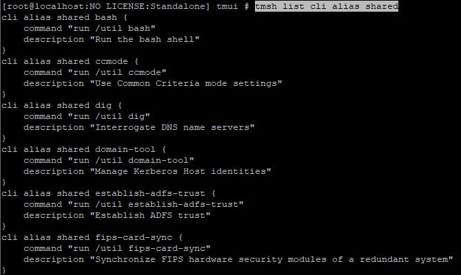 List of shared aliases in TMSH