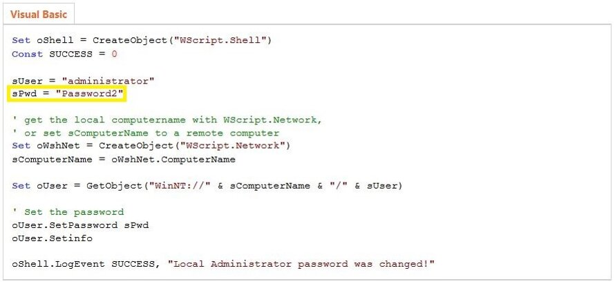 Example of a VBS script (source: MSDN)