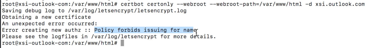 Let's Encrypt blocks issuance of certificates for *.outlook.com