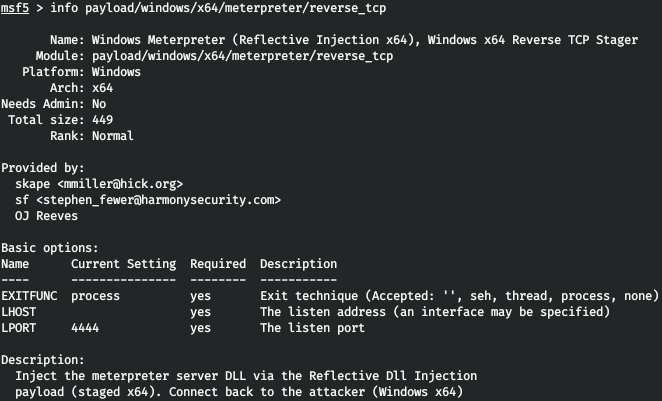 Описание нагрузки windows/x64/meterpreter/reverse_tcp
