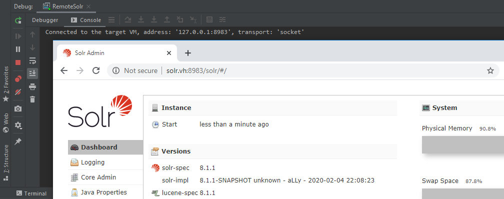 Apache Solr debugging system is ready to go