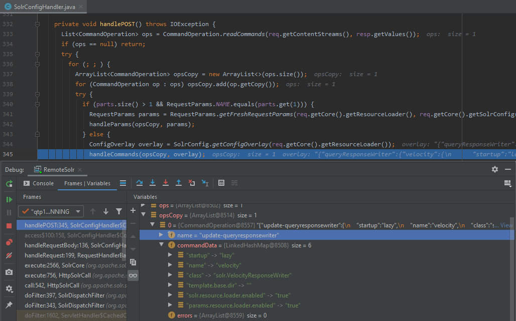 Debugging Apache Solr: the handleCommands method is called