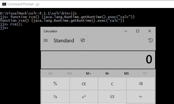 Launching the calculator through java.lang.Runtime.getRuntime in Nashorn