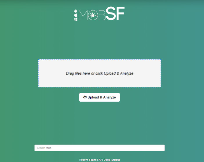 MobSF main page